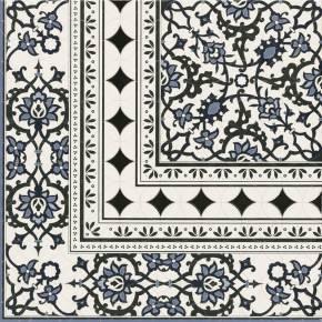 comptoir du cerame carrelage floral bleu blanc noir otto 45x45 cm. Black Bedroom Furniture Sets. Home Design Ideas