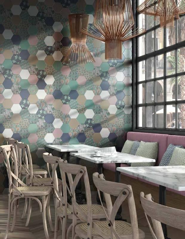 Carrelage hexagonal, la tomette grès cérame good vibes - GO0812011