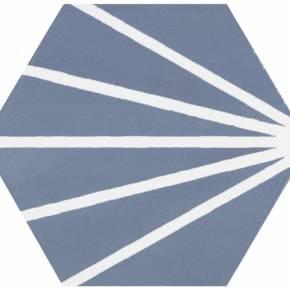 Carrelage hexagonal au design vintage - mat à motif bleu - ME9507002