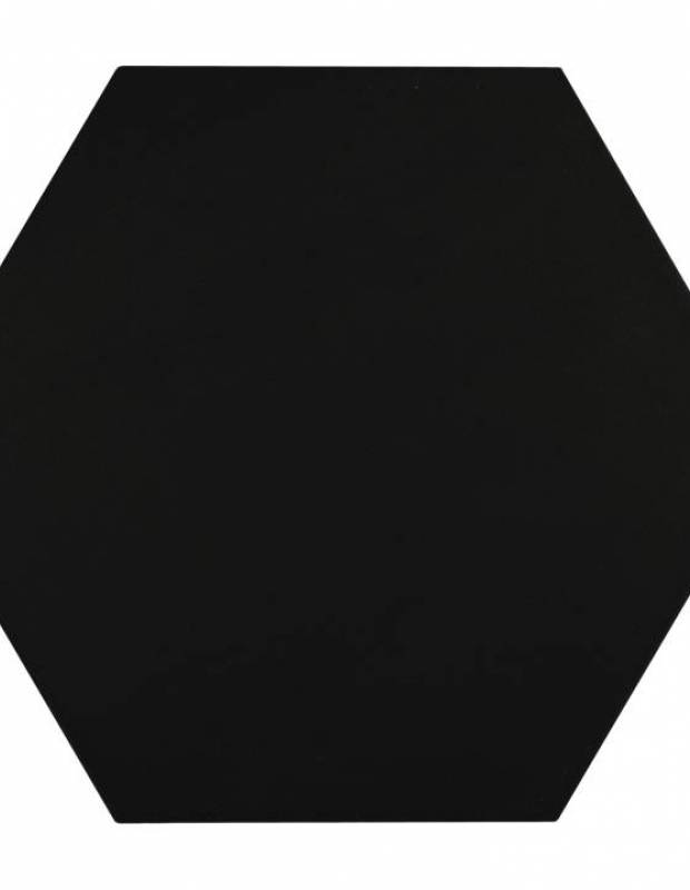 Carrelage uni hexagonal noir en grès cérame de 15 mm d'épaisseur