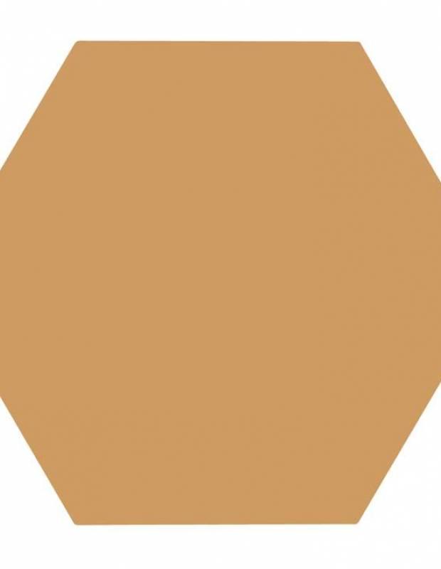 Carrelage uni hexagonal jaune moutarde en grès cérame de 15 mm d'épaisseur