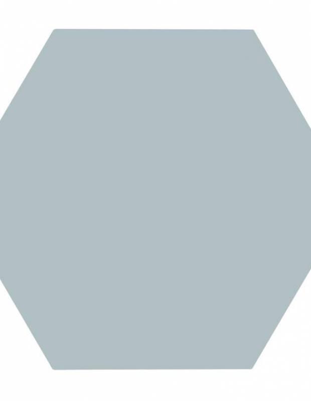 Carrelage uni hexagonal vert eau en grès cérame de 15 mm d'épaisseur