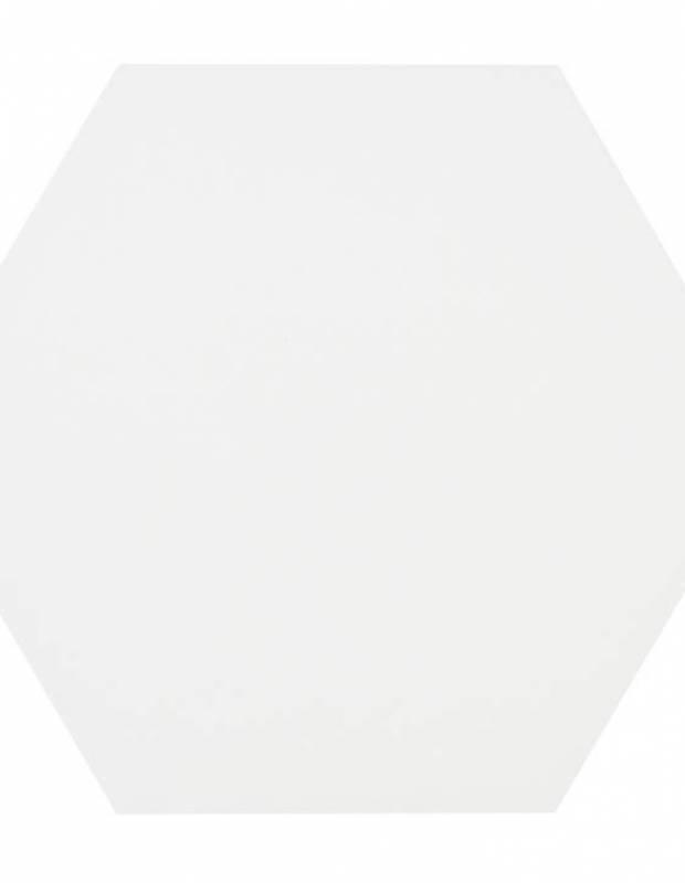 Carrelage uni hexagonal blanc en grès cérame de 15 mm d'épaisseur