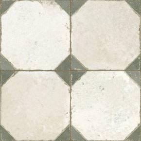 Carrelage aspect octogonal ancien 45x 45cm blanc et vert - FS1145003