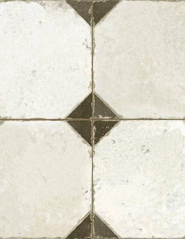 Carrelage aspect octogonal ancien 45x 45cm blanc et noir - FS1145001
