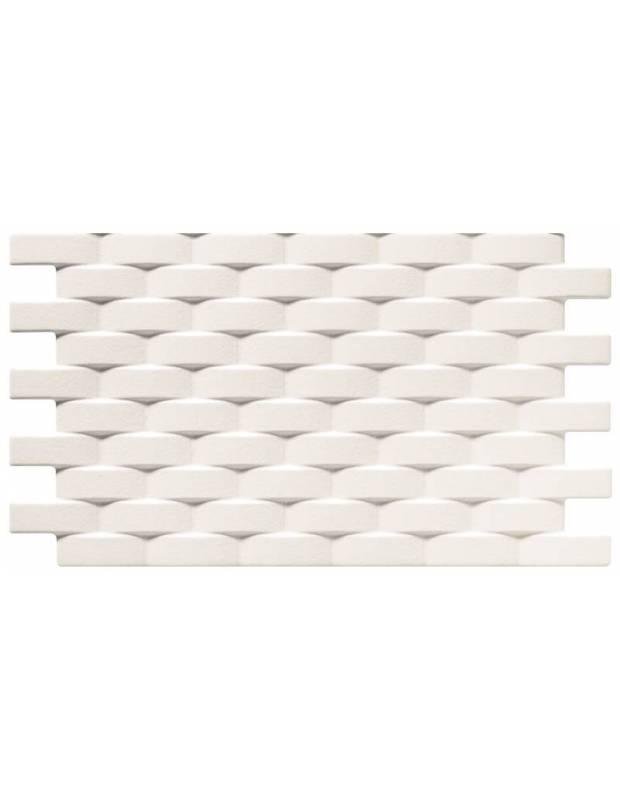 Revêtement mural blanc à relief tressé - LU4131002