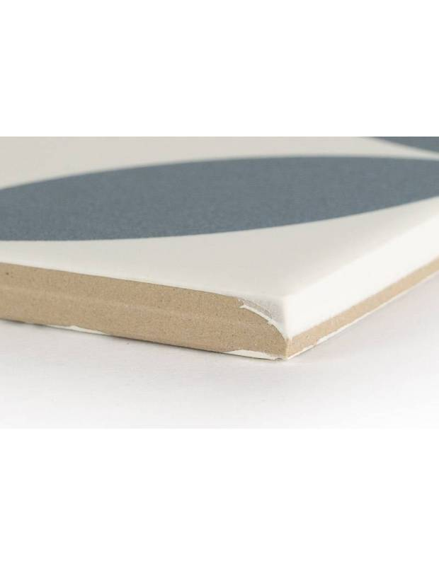 Carrelage grès cérame 25 x 25 cm ancien à cercles bleus - DO1713002