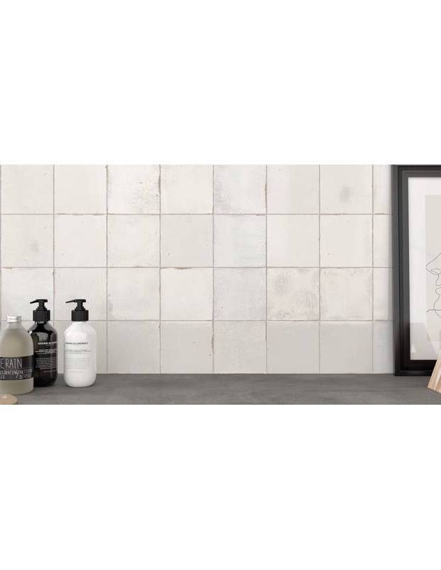 Zellige blanc brillant style artisanal 12.5 x 12.5 cm - ZE5901002