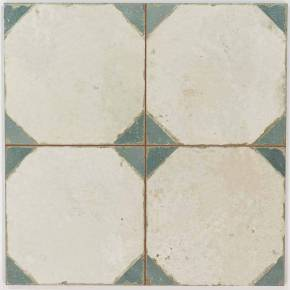 Carrelage aspect octogonal ancien 45x 45cm blanc et bleu - FS1145002